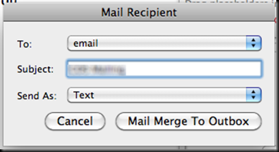 Using Mail Merge With Custom FROM: Addresses in Word/Outlook 2007 or
